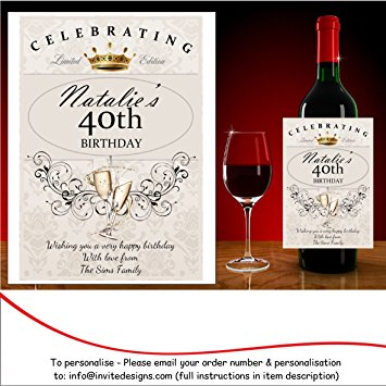 60th birthday wine bottle labels ; 91W5xANG6hL