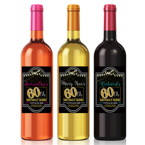 60th birthday wine bottle labels ; cd959ff2687ed76c5dfe99bc735efaca