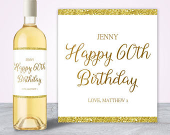 60th birthday wine bottle labels ; il_340x270
