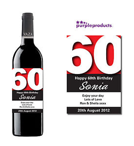 60th birthday wine bottle labels ; s-l300