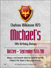60th birthday wine labels ; label40a