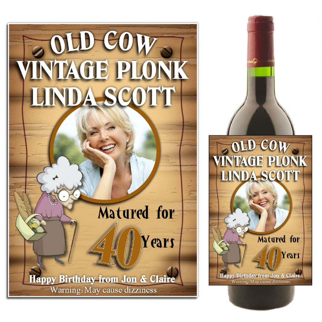 60th birthday wine labels ; personalised-old-cow-happy-birthday-wine-champagne-bottle-photo-label-n32-12046-p