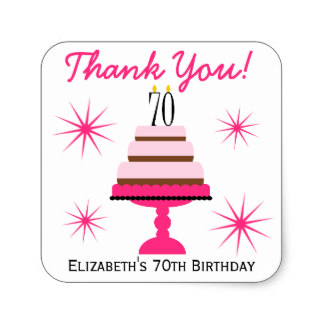 70th birthday stickers ; pink_tiered_cake_70th_birthday_favor_stickers-r9a9f4d72233048aa8828a29a498a2b31_v9wf3_8byvr_324