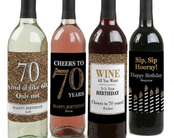 70th birthday wine labels ; il_340x270