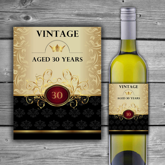 70th birthday wine labels ; il_570xN