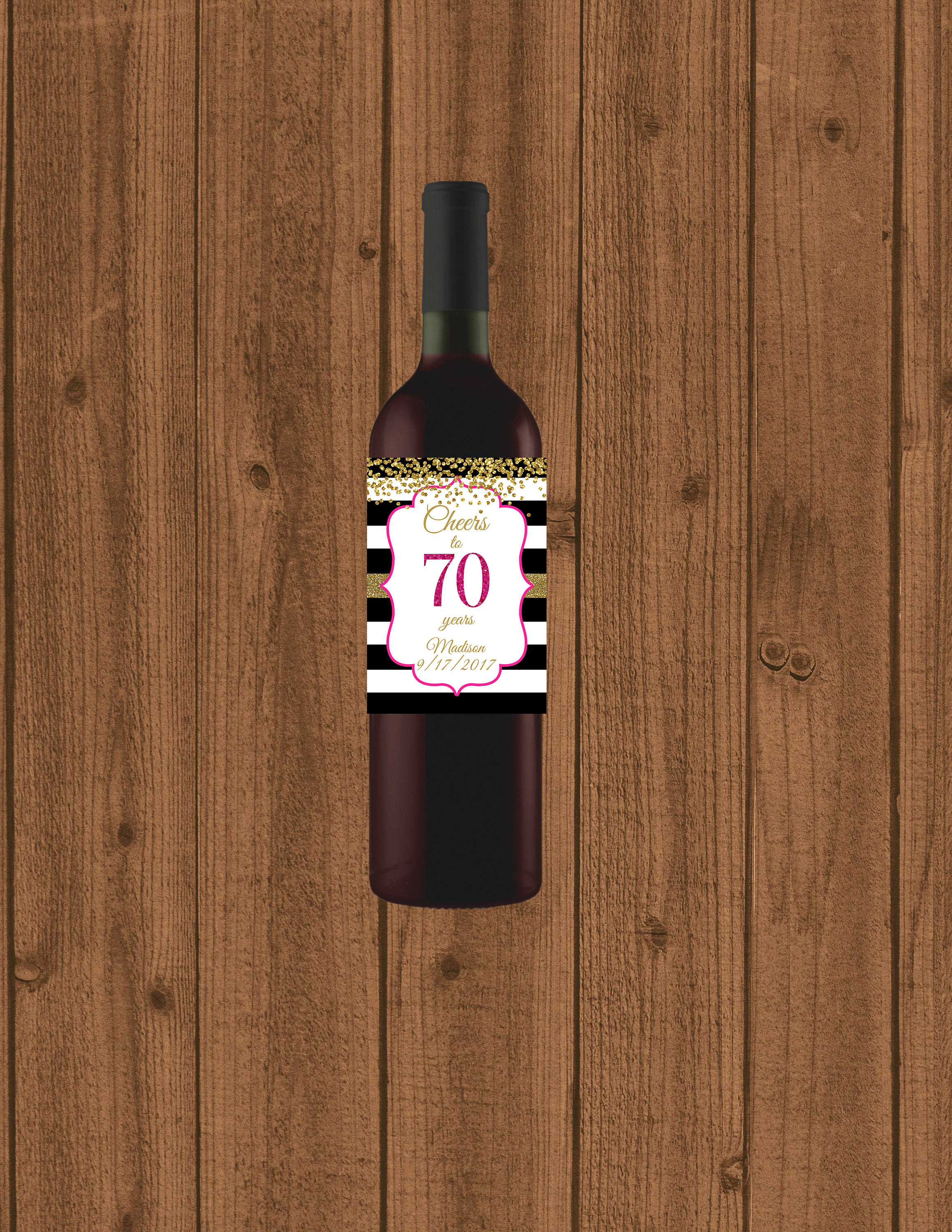 70th birthday wine labels ; il_fullxfull
