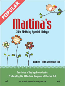 70th birthday wine labels ; label9a