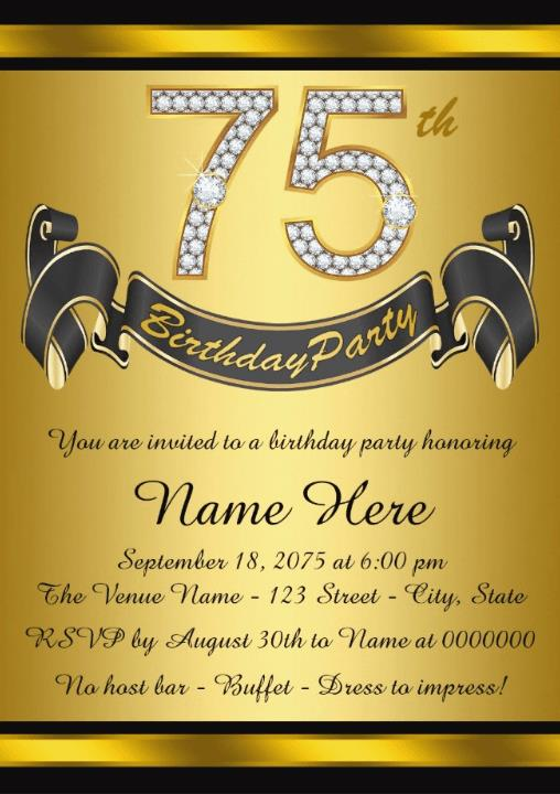 75th Birthday Invitation Cards Printable Wording Samples