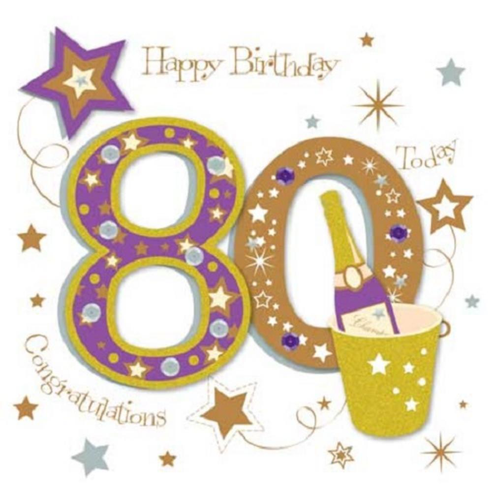 80th birthday greeting card messages ; lrgscaleMWER0018_80