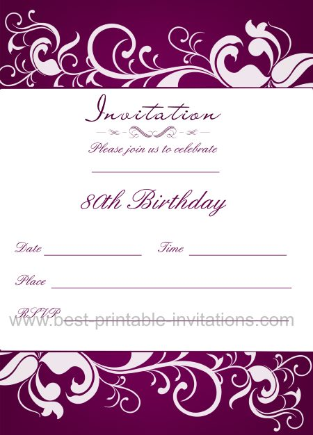 80th Birthday Invitation Templates Free Printable To