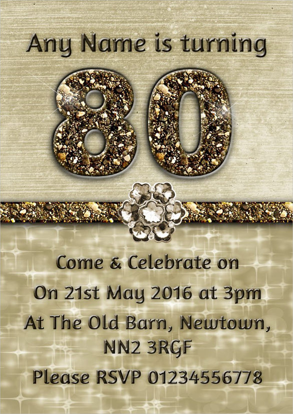 80th birthday invitation templates free printable ; Personalised-Titanium-Gold-Sparkly-80th-Birthday-Party-Invitation