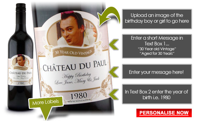 80th birthday wine labels ; 30yourlabel-birthdays-new
