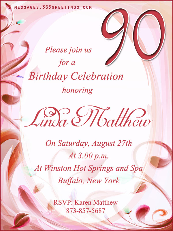 90th birthday greeting card messages ; 90th-birthday-invitation-wordings