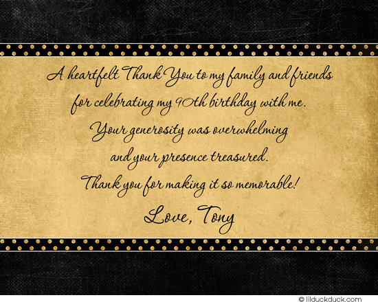 90th birthday greeting card messages ; 90th-birthday-thank-you-card-script-verse-front-black-golden