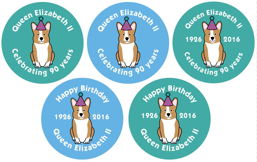 90th birthday stickers ; Queens-90th-Birthday-stickers-969