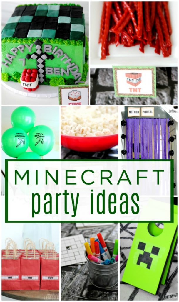 activities for preschool birthday party ; minecraft-birthday-party-kids-ideas-food-decorations-activities-games-609x1024