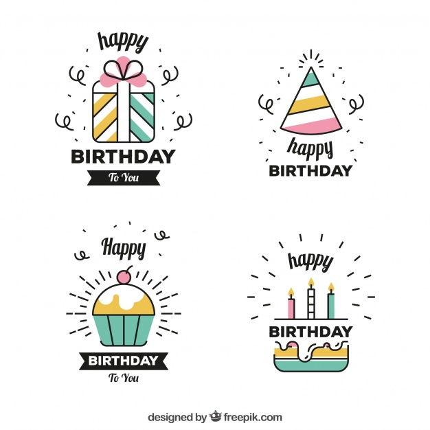 add birthday stickers to photos ; set-of-linear-birthday-stickers_23-2147659651
