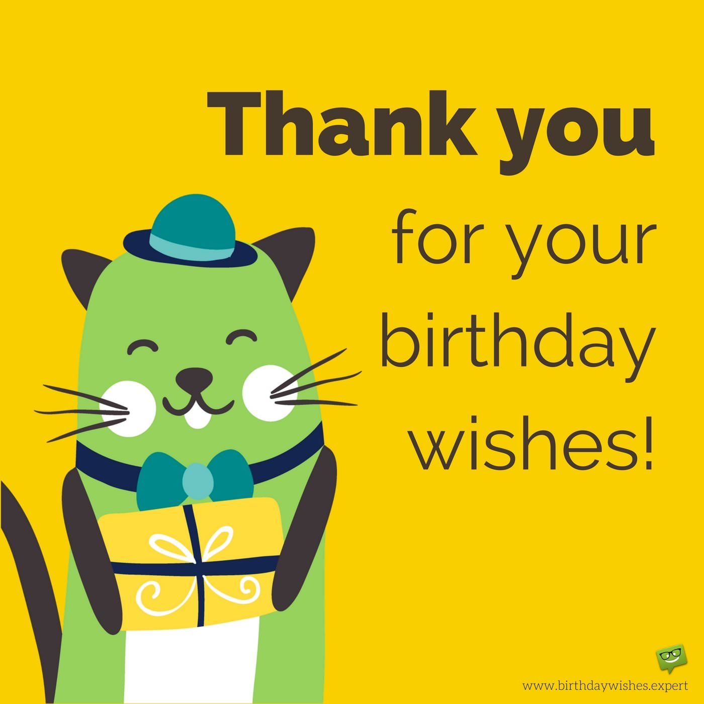 appreciation message for birthday wishes ; Cute-thank-you-for-your-birthday-wishes-message-on-image-with-funny-animal-holding-a-gift