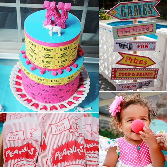 baby birthday activities ; Colorful-Summer-Circus-First-Birthday-Party