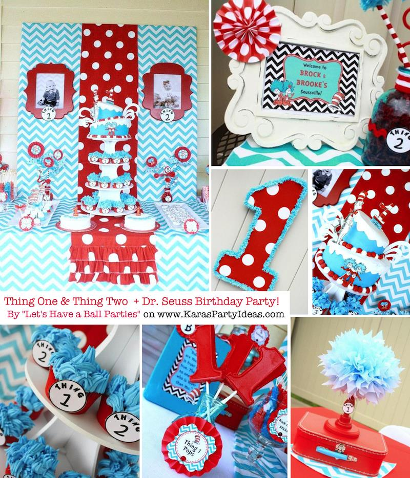 baby birthday activities ; Thing-One-Thing-Two-Dr-Seuss-Themed-Birthday-Party-for-twins-via-Karas-Party-Ideas-karaspartyideas