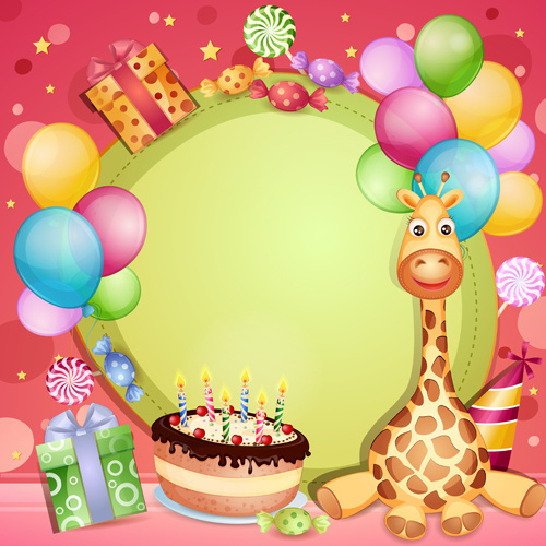 baby birthday banner designs ; happy_birthday_baby_cards_cute_design_vector_548357
