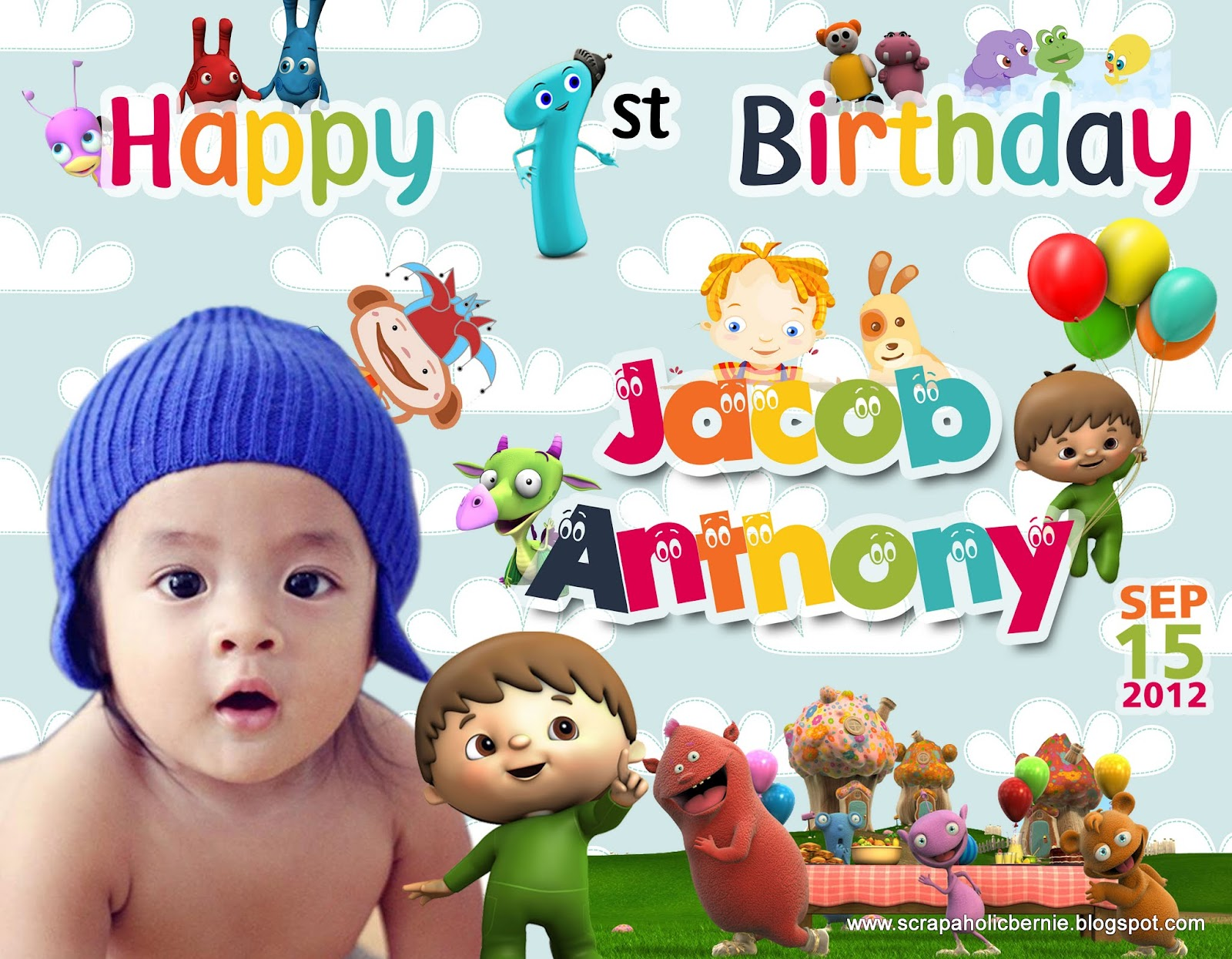 baby birthday banner template ; Jacob+Charlie+and+the+Numbers+Tarpo