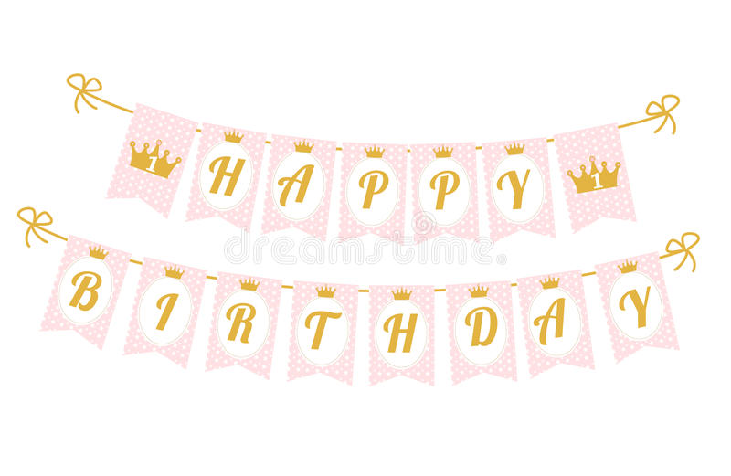 baby birthday banner template ; cute-pennant-banner-as-flags-letters-happy-birthday-princess-style-printable-template-baby-pattern-pink-gold-design-84173716