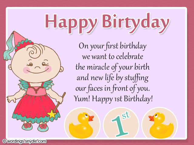 baby birthday greeting message ; 1st-birthday-card-messages-wishes-for-a-baby-girl-a-smiling-baby-girl-blending-with-pink-framed-adding-by-simple-design-looked-so-cute-and-awesome