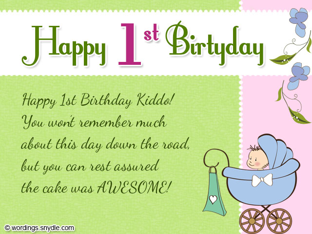 baby birthday greeting message ; happy-1st-birthday-wishes-green-color-background-items-style-1-years-old-baby-decoration-with-flowers-1st-birthday-card-messages