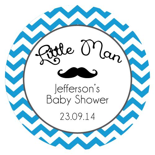 baby birthday stickers ; chevron_mustache_roundlabel_blue