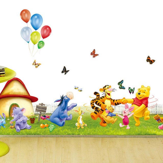 baby birthday wallpaper ; Cute-Winnie-the-Pooh-removable-wall-stickers-for-kids-room-home-decor-baby-nursery-decal-wallpaper