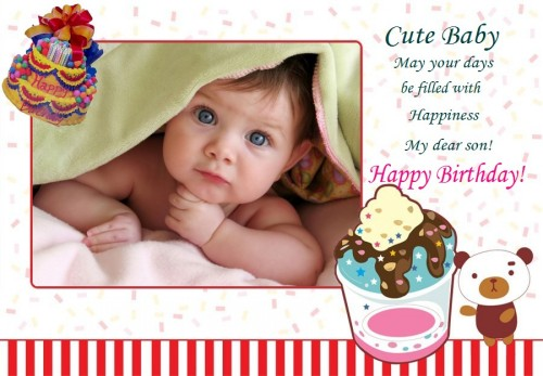 baby birthday wishes card ; a-baby-birthday-card-cute-baby-image-with-wishes-birthday-celebrate-cards-design-with-photo-layout-decorate-baby-birthday-card