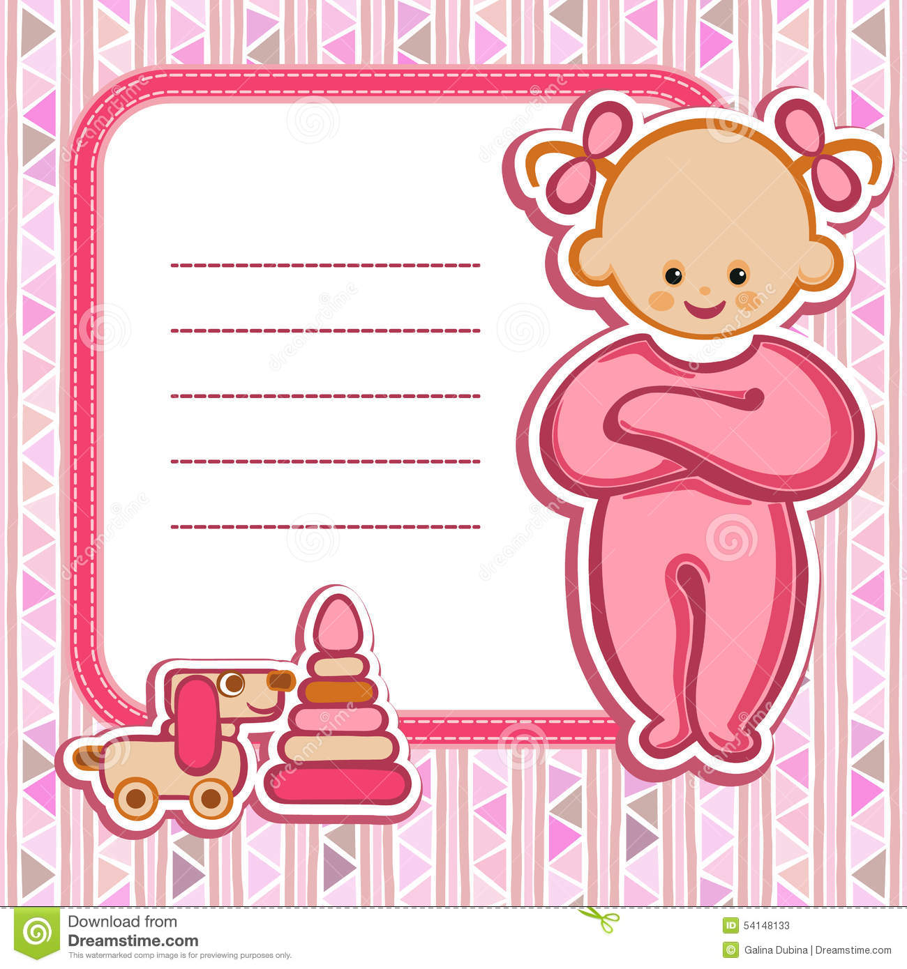 baby birthday wishes card ; card-baby-girl-birthday-nice-greeting-template-cute-simple-artistic-hand-drawn-illustration-doodle-shower-greetings-invitation-54148133