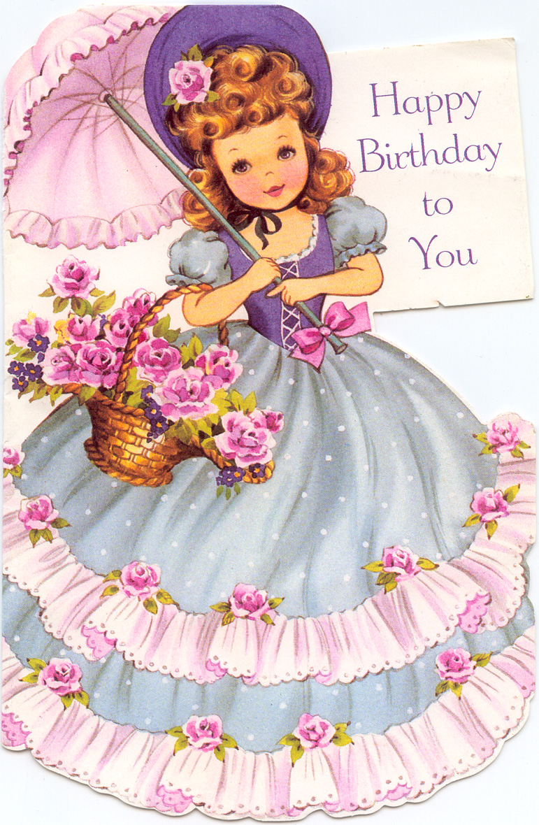 baby birthday wishes card ; happy-birthday-girl-with-parasol