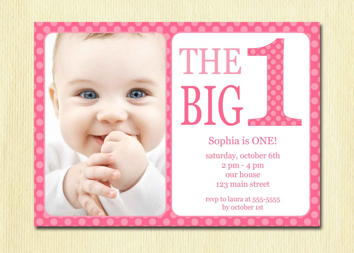 baby first birthday invitation quotes ; Polkadot-Pink-1st-Invitation-Template