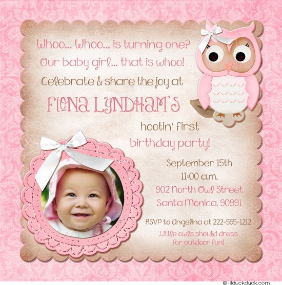 baby first birthday invitation quotes ; sweet-owl-birthday-invitation-photo-1st-girl-pink-brown-party