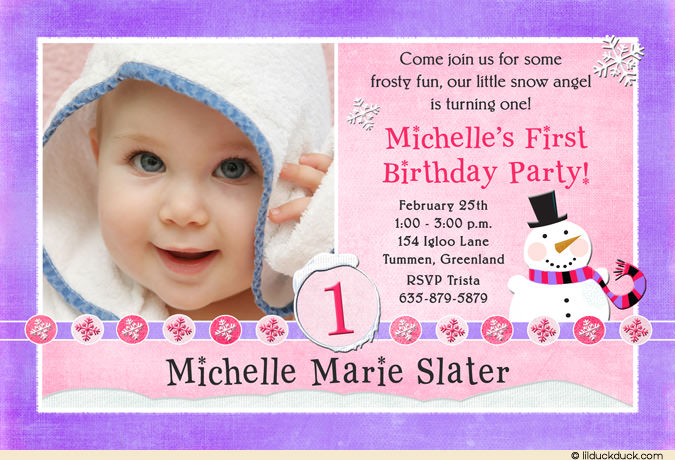 baby girl first birthday invitation quotes ; snowman-one-photo-purple-pink-girl-1st-birthday-invitation