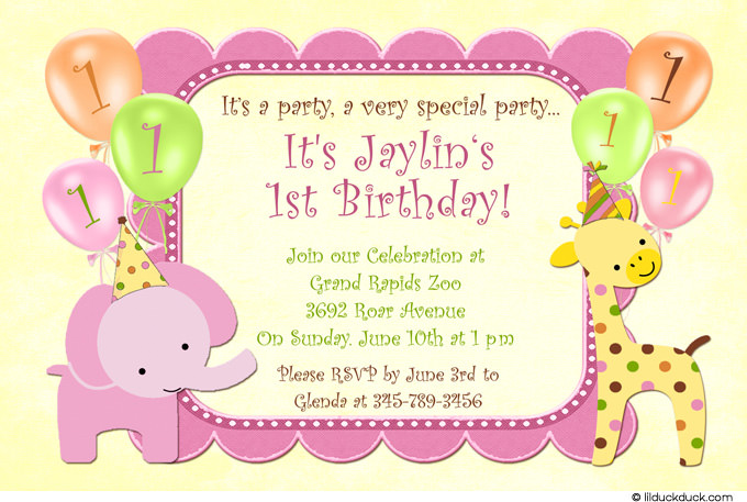 background design for birthday invitation ; Custom-elephant-giraffe-Birthday-Invitation-Pink-Green-Yellow-AlternFont-Yellow-l