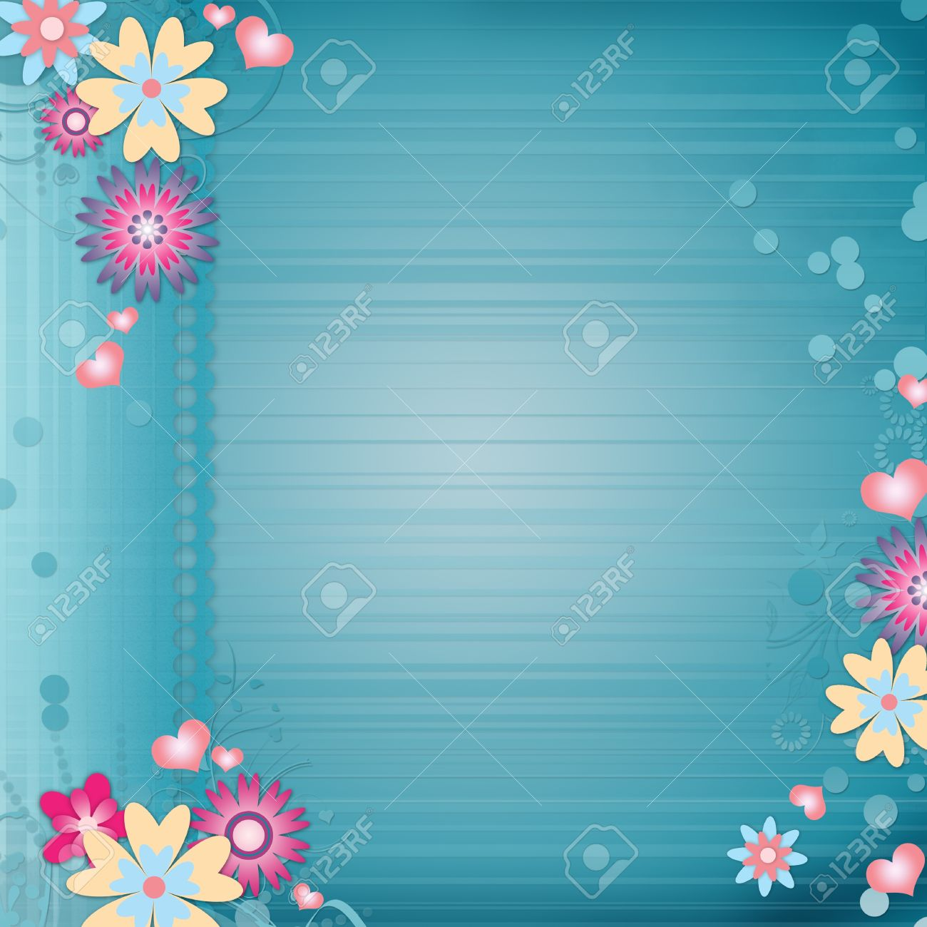 background images for birthday greeting cards ; 12510009-Greeting-card-background-with-flowers-hearts-Stock-Photo-invitation-birthday-kids
