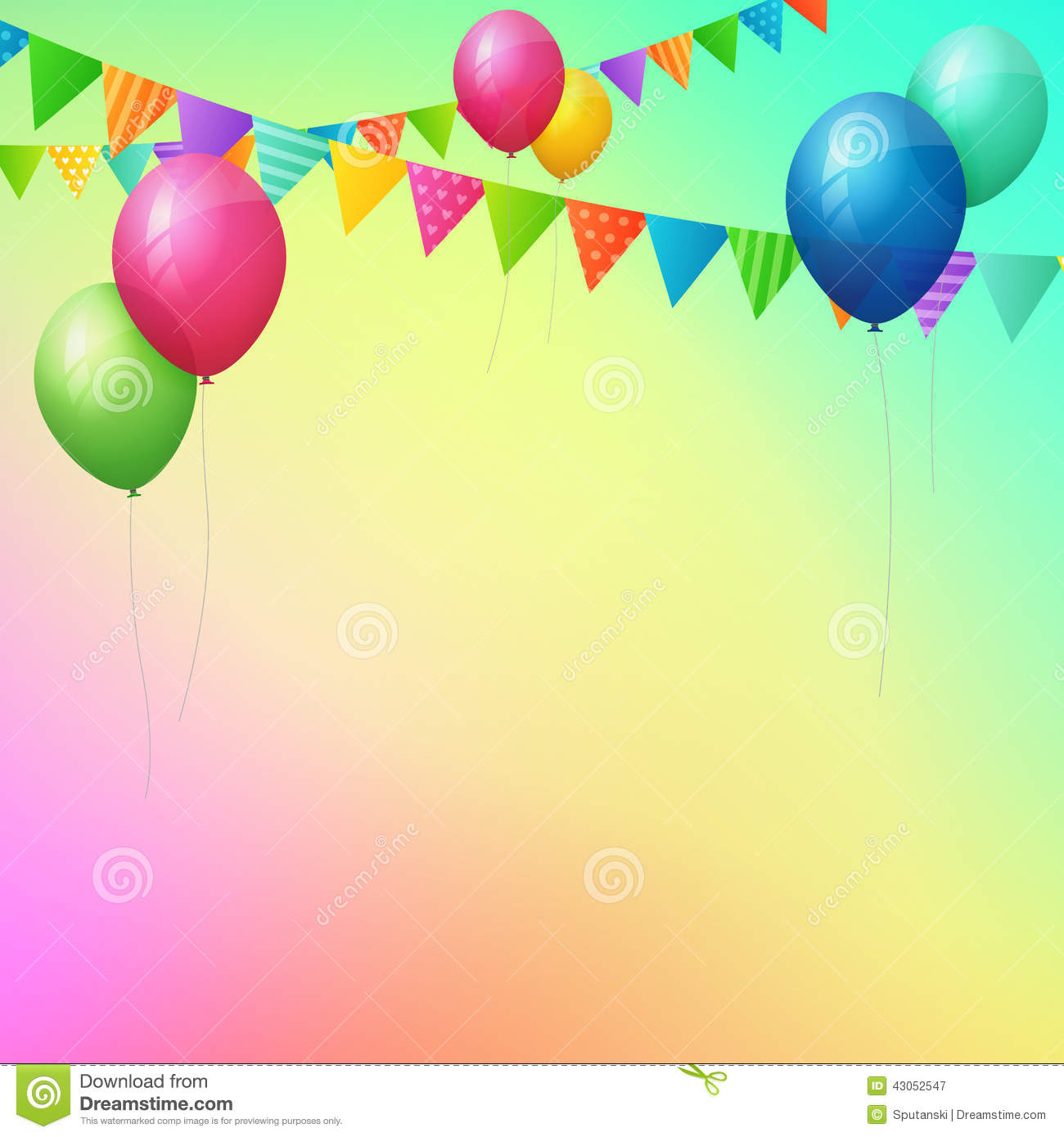 background images for birthday greeting cards ; happy-birthday-greeting-card-colorful-balloons-flags-background-43052547