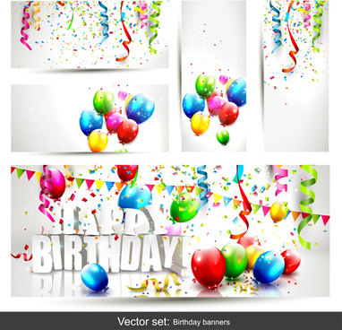 banner design birthday ; birthday_banners_with_color_balloon_vector_577493