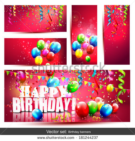 banner design birthday ; stock-vector-vector-set-of-five-colorful-birthday-banners-with-confetti-and-balloons-181244237