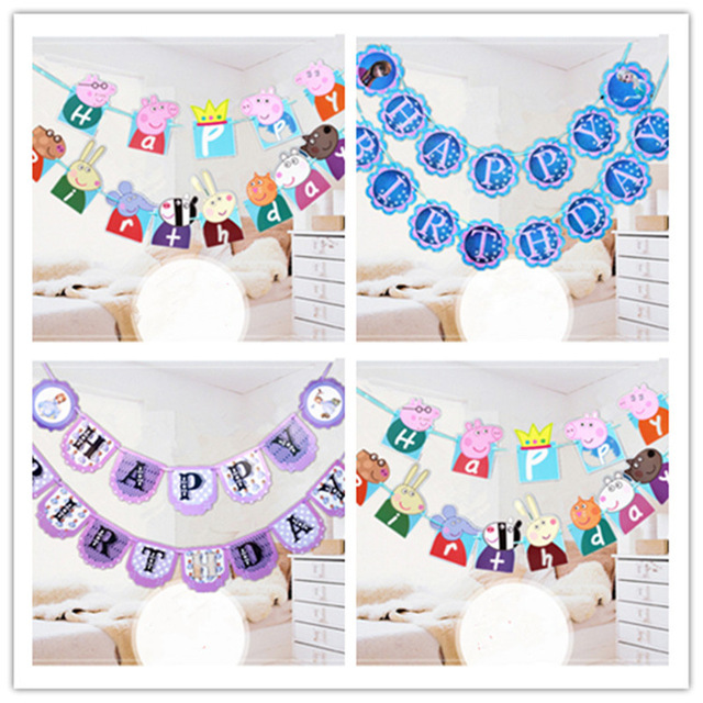 banner design birthday party ; Pink-Pig-Go-Design-Party-Bunting-Per-Bunting-Party-Favor-Happy-Birthday-Party-Decorations-Kids-Banner