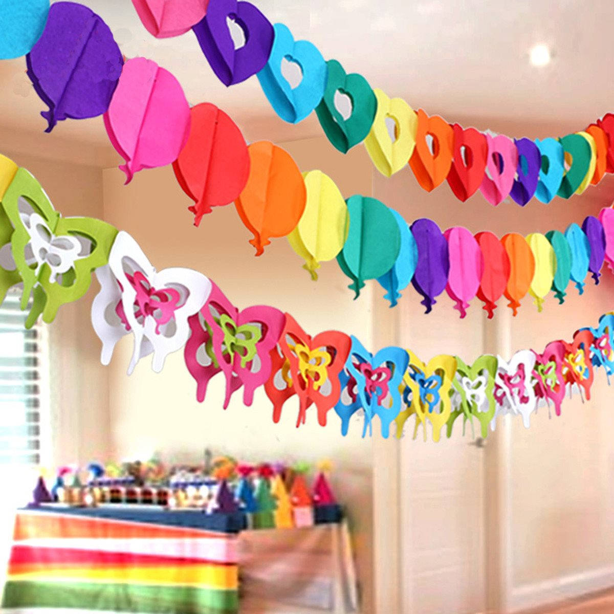 banner design birthday party ; Rainbow-Colors-Hanging-Paper-Chain-Heart-Toy-Car-Banner-Birthday-Party-Design-Decorative-Crafts-Events-Party