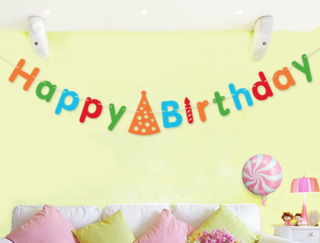 banner of happy birthday ; Birthday-banner-Happy-Birthday-letters-greeting-colorful-hat-candle-hanging-for-home-garden-outside-party-decoration