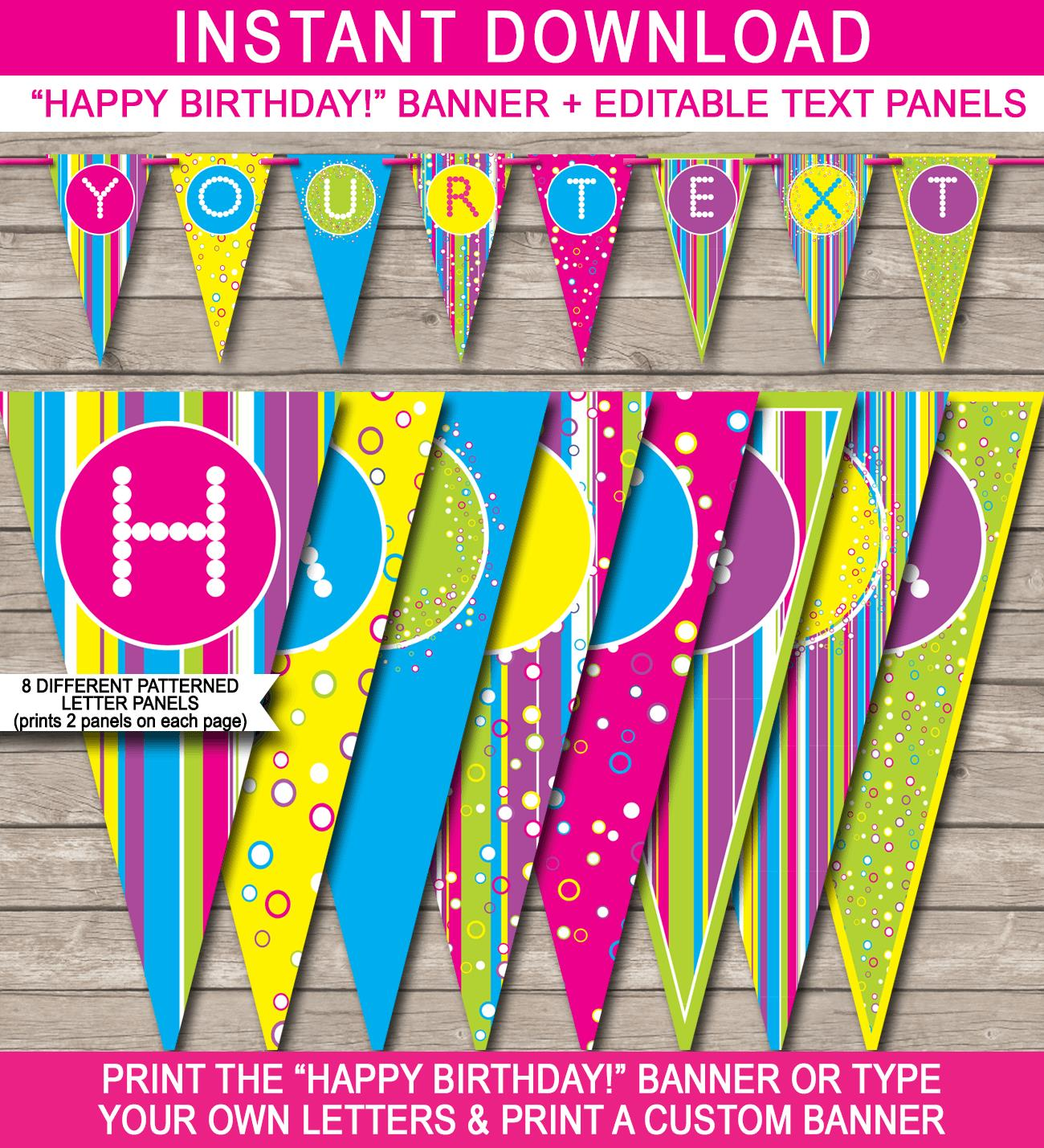 banner of happy birthday ; Candyland-Banner-Happy-Birthday-editable-and-printable-template
