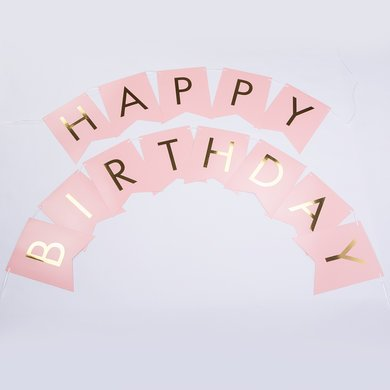 banner of happy birthday ; pink-gold-foil-happy-birthday-party-pennant-banner-garland-decoration-8ft-21