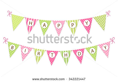 banner of happy birthday ; stock-vector-cute-vintage-festive-fabric-pennant-banner-as-bunting-flags-with-letters-happy-birthday-in-shabby-342221447