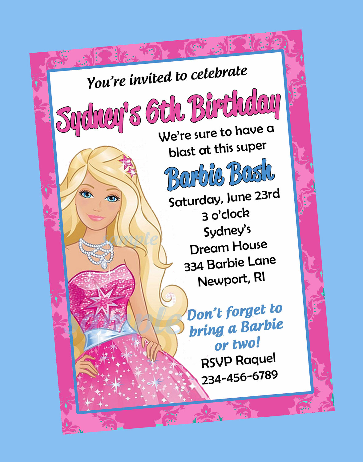 barbie theme birthday invitation card ; 0ed6bf36c05b5aa99f58780f62abc141