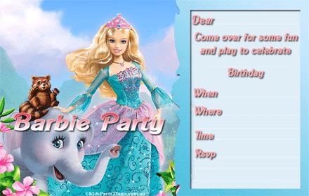 barbie theme birthday invitation card ; 21-barbie_party